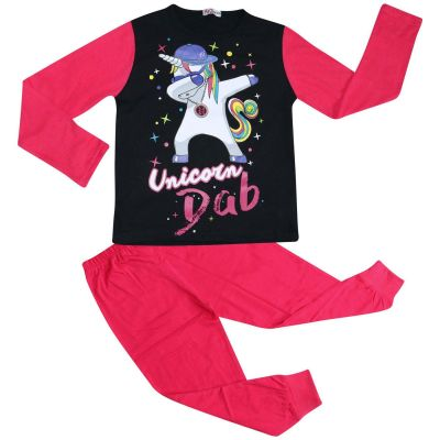 A2Z Trendz Kids Girls Pajamas Designer's Unicorn Dab Print Pink Contrast Sleeves Pyjamas Stylish Loungewear Nightwear PJS Outfit Set New Age 5 6 7 8 9 10 11 12 13 Years