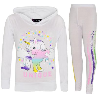 A2Z Trendz Girls Dabbing Unicorn Unique Tracksuit Kids Designer's Rainbow Floss Hooded White Top & Legging Lounge Wear New Age 7 8 9 10 11 12 13 Years