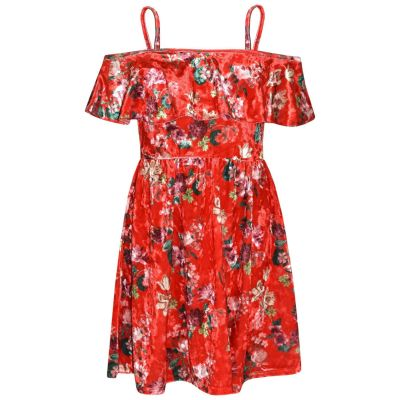 A2Z Trendz Girls Skater Dress Floral Red Print Summer Party Fashion Off Shoulder Dresses New Age 7 8 9 10 11 12 13 Years