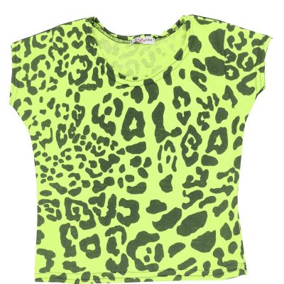 A2Z Trendz Kids Girls Crop Tops Leopard Print Neon Green Stylish Fahsion Trendy T Shirt Tank Top & Tees New Age 5 6 7 8 9 10 11 12 13 Years