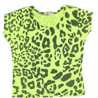 A2Z Trendz Kids Girls Crop Tops Leopard Print Neon Green Stylish Fahsion Trendy T Shirt Tank Top & Tees New Age 5 6 7 8 9 10 11 12 13 Years