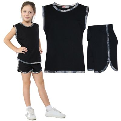 A2Z Trendz Kids Girls Vest Top And Shorts 100% Cotton Camouflage Charcoal Taped Trendy Summer Vests Hot Pant Short Outfit Set New Age 5 6 7 8 9 10 11 12 13 Years