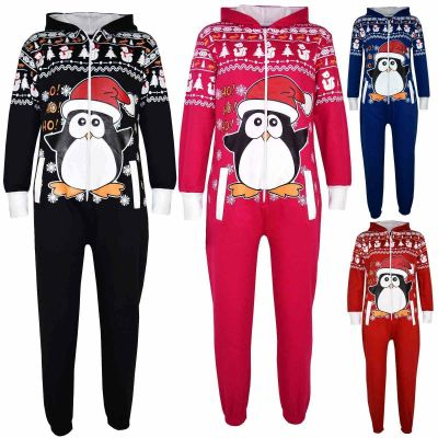 Kids Girls Boys Novelty Christmas Penguin Print Fleece Onesie All In One Jumpsuit Costume Age 5-13 Years