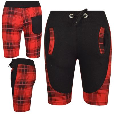 A2Z Trendz Kids Shorts Girls Boys Designer's Tartan Red Print Panel Fleece Chino Short Casual Knee Length Half Pant 5 6 7 8 9 10 11 12 13 Years