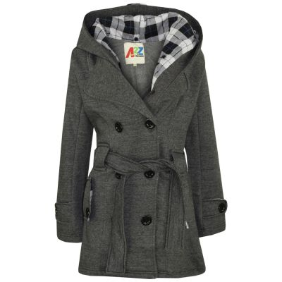 A2Z Trendz Kids Girls Parka Jacket Hooded Trench Coat Fashion Wool Blends Warm Padded Charcoal Jacket Oversized Lapels Belted Cuffs Long Overcoat New Age 5 6 7 8 9 10 11 12 13 Years