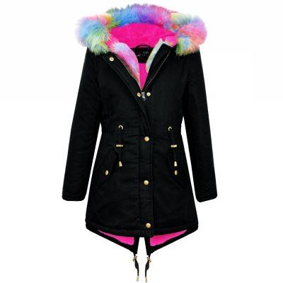 A2Z Trendz Kids Hooded Jacket Girls Rainbow Faux Fur Black Parka School Jackets Outwear Coat New Age 7 8 9 10 11 12 13 Years