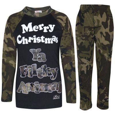 A2Z Trendz Kids Pjs Girls Boys Merry Christmas Ya Filthy Animal Camouflage Green Print Christmas Pajamas Set Age 2 3 4 5 6 7 8 9 10 11 12 13 Years
