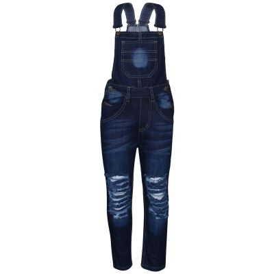 A2Z Trendz Kids Girls Denim Dark Blue Dungaree Designer's Ripped Jeans Overall All In One Jumpsuit Playsuits Age 5 6 7 8 9 10 11 12 13 Years