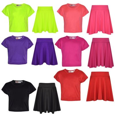 A2Z Trendz Girls Top Kids Plain Color Stylish Crop Top & Fashion Skater Skirt Set New Age 7 8 9 10 11 12 13 Years