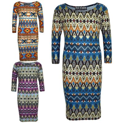 A2Z Trendz Gilrs Dress Kids Aztec Foil Print Bodycon Fashion Midi Dresses Top Age 7 8 9 10 11 12 13 Years