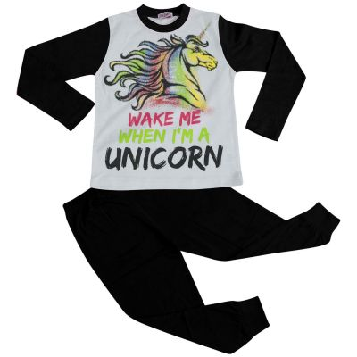 A2Z Trendz Kids Girls Pajamas Designer's Wake Me When I'M A Unicorn Print Contrast Sleeves Stylish Black Pyjamas Loungewear Nightwear PJS New Age 5 6 7 8 9 10 11 12 13 Years