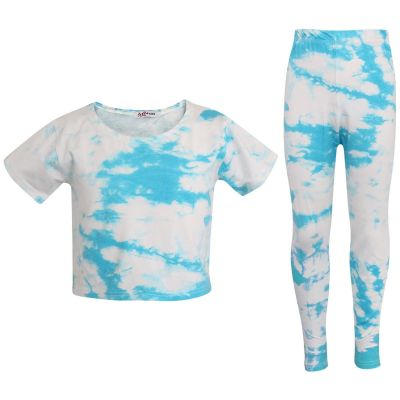 Girls Tie Dye Print Crop & Legging Sets