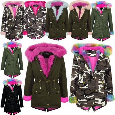 A2Z Trendz Kids Hooded Jacket Girls Rainbow Fur Parka School Jackets Outwear Coat New Age 7 8 9 10 11 12 13 Years