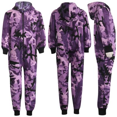 Kids Boys Girls Unisex Onesie 100% Cotton Camouflage Purple Print All in One Jumpsuit Playsuit.