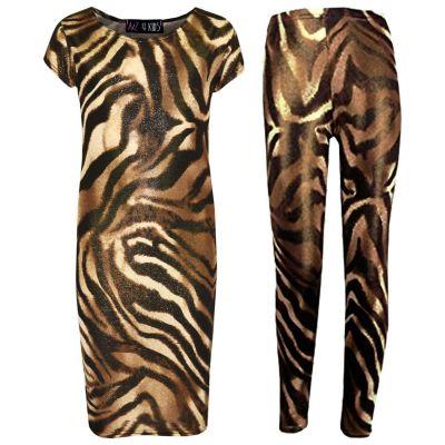 A2Z Trendz Girls Dresses Kids Designer's Tiger Shiny Print Summer Party Bodycon Midi Dress & Fashion Legging Age 7 8 9 10 11 12 13 Years
