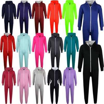 Kids Girls Boys Plain Color Fleece Hooded Onesie All In One Jumpsuit Age 5 6 7 8 9 10 11 12 13 Years