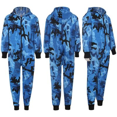 Kids Boys Girls Unisex Onesie 100% Cotton Camouflage Blue Print All in One Jumpsuit Playsuit.