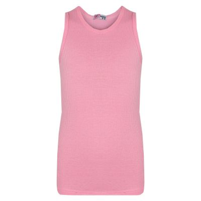 A2Z Trendz Kids Girls Ribbed Vest Top Designer's 100% Cotton Baby Pink Fashion Tank Tops T Shirts New Age 5 6 7 8 9 10 11 12 13 Years
