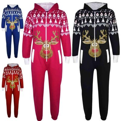 Kids Girls Boys Novelty Christmas Reindeer Print Fleece Onesie All In One Jumpsuit Costume Age 5-13 Years