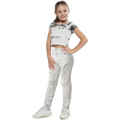 Kids Girls Skinny Jeans White Denim Ripped Stretchy Pants Jeggings 7-13 Years