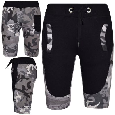 A2Z Trendz Kids Shorts Girls Boys Designer's Camouflage Print Charcoal Panel Fleece Chino Short Casual Knee Length Half Pant 5 6 7 8 9 10 11 12 13 Years