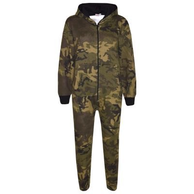 Kids Girls Boys Onesie Fleece Camouflage Print All In One Jumpsuit New Age 7 8 9 10 11 12 13 Years