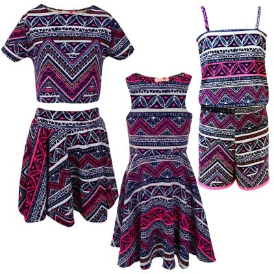 Kids Girls Pink & Blue Aztec Tribal Print Skater Skirt Midi Dress Crop Top Legging New Age 7-13 Years
