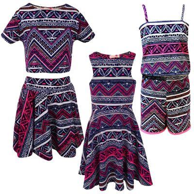 Kids Girls Pink & Blue Aztec Tribal Print Skater Skirt Midi Dress Crop Top Legging New Age 7-13 Years