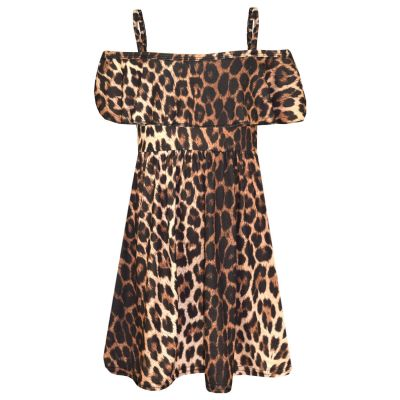 A2Z Trendz Girls Skater Dress Kids Leopard Print Summer Party Fashion Off Shoulder Dresses New Age 7 8 9 10 11 12 13 Years