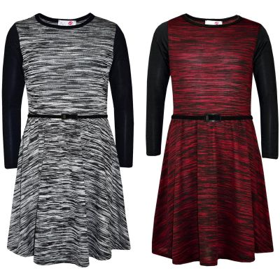 Girls Skater Dress Knitted Fabric Grey & Burgundy Long Sleeves Party Dance Dresses Age 7 8 9 10 11 12 13 Years