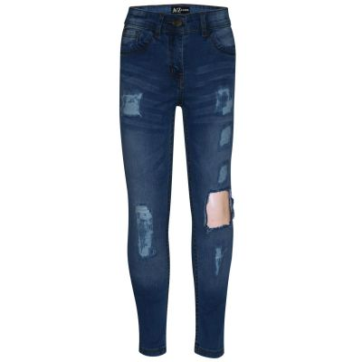 A2Z Trendz Kids Girls Stretchy Mid Blue Denim Jeans Designer's Ripped Faded Fashion Jeggings Skinny Frayed Pants Stylish Trousers New Age 5 6 7 8 9 10 11 12 13 Years
