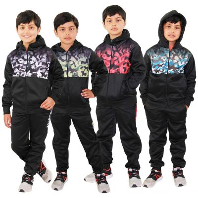 A2Z Trendz Kids Boys Girls Tracksuit Camouflage Panelled Hooded Zipped Top Bottom Jogging Suit Sports Joggers New Age 5 6 7 8 9 10 11 12 13 Years