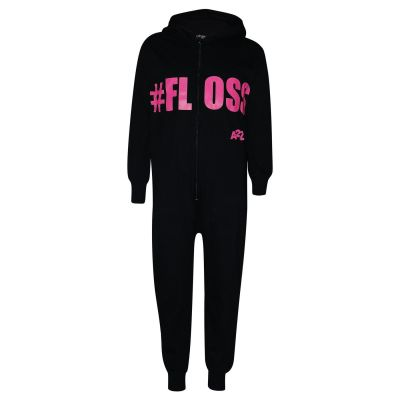 A2Z Trendz Kids Girls Boys 100% Cotton Black & Neon Pink Onesie #Floss All In One Jumpsuit Playsuit Nightwear New Age 5 6 7 8 9 10 11 12 13 Years