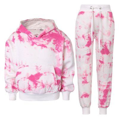 Kids Girls Tracksuit Tie Dye Print Fleece Pink Hooded Crop Top & Bottom Jogging Suit Joggers