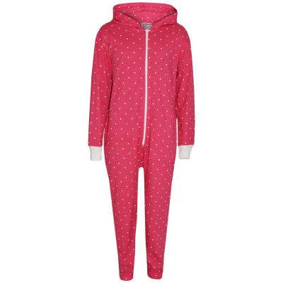 A2Z Trendz Kids Girls Onesie Designer's Polka Dot Print Cotton Pink Hooded Onesie All In One Jumpsuit Playsuit New Age 2 3 4 5 6 7 8 9 10 11 12 13 Years