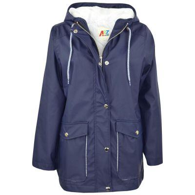 A2Z Trendz Kids Girls Boys PU Raincoat Jackets Designer's Navy Windbreaker Waterproof Cagoule Hooded Rainmac Shower Resistant Coats Age 5 6 7 8 9 10 11 12 13 Years