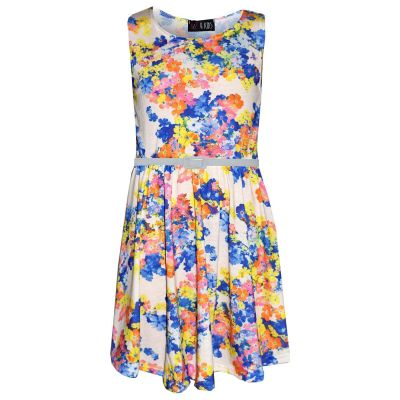 A2Z Trendz Girls Skater Dress Kids Blue & Yellow Floral Print Summer Party Fashion Dresses New Age 7 8 9 10 11 12 13 Years