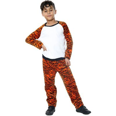 Kids Girls Boys Pyjamas Tiger Print Loungewear Flannel Fleece Nightwear PJS.