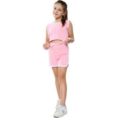 A2Z Trendz Kids Girls Shorts Set 100% Cotton Contrast Taped Trendy Fashion Summer Baby Pink T Shirt Top And Hot Short Pants Outfit Set New Age 5 6 7 8 9 10 11 12 13 Years