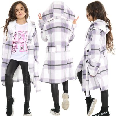Kids Girls Hooded Trench Coat Fashion Warm Lilac Check Jacket Oversized Lapels Belted Cuffs Long Overcoat.