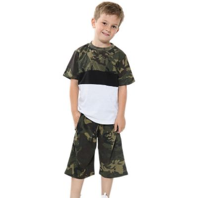 A2Z Trendz Kids Girls Boys Shorts Set 100% Cotton Camouflage Green Contrast Panelled Trendy Fashion T Shirt Top & Short Pants Sportswear Gymwear Outfit Clothing Sets 5 6 7 8 9 10 11 12 13 Years