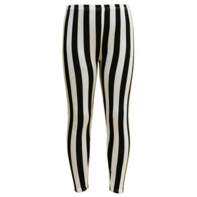 Girls Legging Kids Black & White Vertical Stripes Striped Fashion Leggings Age 7 8 9 10 11 12 13 Years