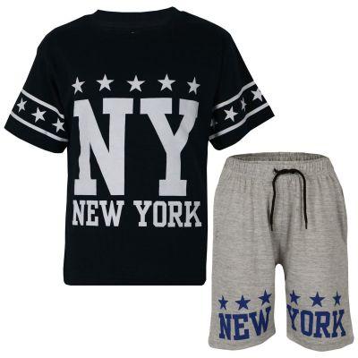 A2Z Trendz Kids Boys Girls T Shirt Short Set Designer's Black 100% Cotton NY New York Print T-Shirt Top & Shorts Set Age 5 6 7 8 9 10 11 12 13 Years