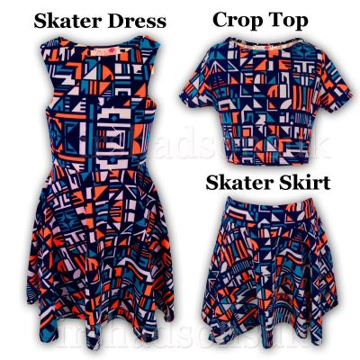 Kids Girls Orange & Blue Aztec Print Skater Skirt Midi Dress Crop Top Legging New Age 7-13 Years