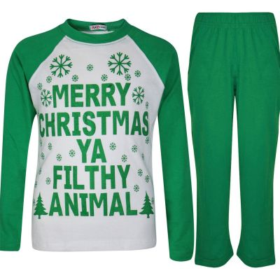 A2Z Trendz Kids Girls Boys PJS Merry Christmas Ya Filthy Animal Print Green Christmas Pajamas Set Age 2 3 4 5 6 7 8 9 10 11 12 13 Years