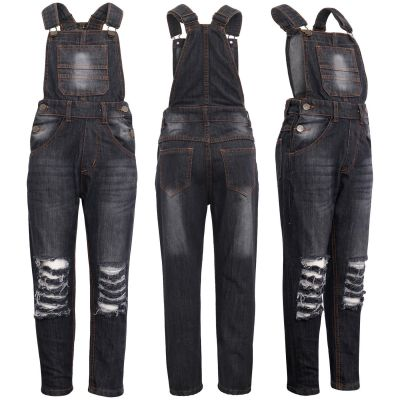 A2Z Trendz Kids Girls Denim Black Dungaree Designer's Ripped Jeans Overall All In One Jumpsuit Playsuits Age 5 6 7 8 9 10 11 12 13 Years