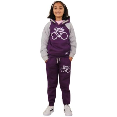 A2Z Trendz Boys Girls Tracksuit Kids Designer's Pedal Power Print Purple & Grey Hooded Top & Botom Jogging Suit Joggers  5 6 7 8 9 10 11 12 13 Years