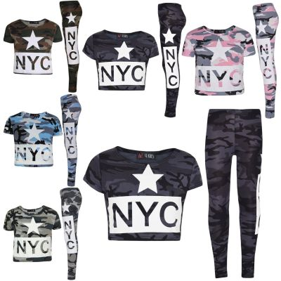 A2Z Trendz Girls Top Kids NYC Camouflage Print Trendy Crop Tops & Fashion Legging Set New Age 7 8 9 10 11 12 13 Years