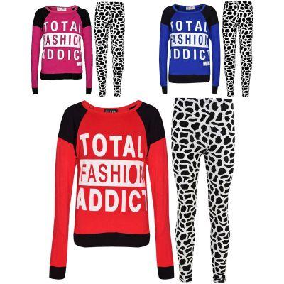 Kids Girls TOTAL FASHION ADDICT Printed Trendy Top & Fashion Legging Set New Age 7 8 9 10 11 12 13 Years