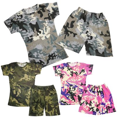 A2Z Trendz Kids Girls Shorts Set 100% Cotton Camouflage Print Trendy Fashion Summer T Shirt Top And Short Pants Outfit Clothing Sets New Age 5 6 7 8 9 10 11 12 13 Years